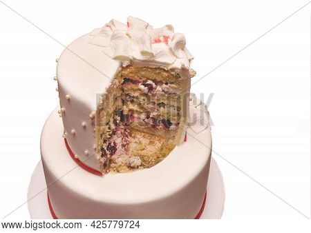 Wedding Two-tiered Light Sweet Dessert Cake Cut With Berry Fruit Filling On A White Background, Isol