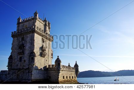 Tower of Belem, near Tejo river, Lisboa Portugal