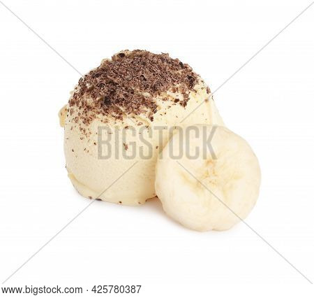 Delicious Banana Ice Cream With Chocolate Crumbs And Fresh Fruit On White Background