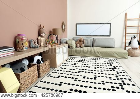 Montessori Bedroom Interior With Floor Bed And Toys
