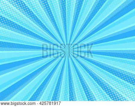 Blue Comic Background With Halftone. Pop Art Style Effect, Cartoon Comic Background With Lightning B