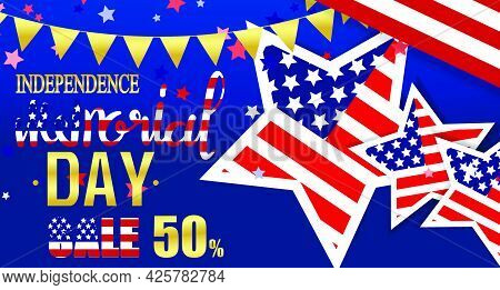 Memorial Day Honor With Usa Vector Illustration