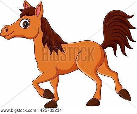 Vector Illustration Of Cartoon Brown Horse Isolated On White Background