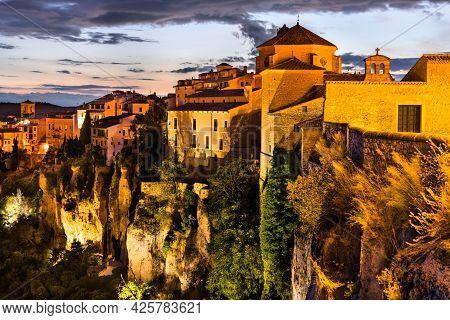 San Pedro Church In Cuenca At Sunset. Castile - La Mancha, Spain