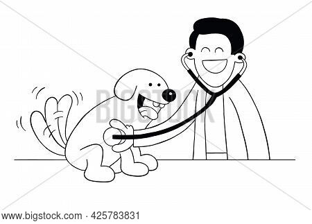 Cartoon Veterinarian Examining Dog With Stethoscope, Vector Illustration. Black Outlined And White C