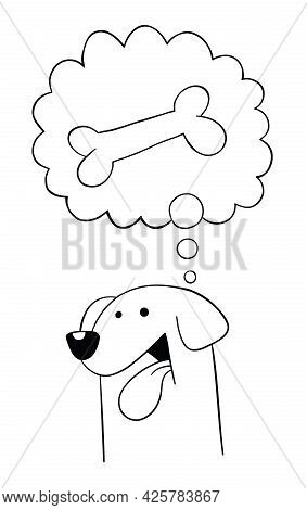 Cartoon Dog Wants Bone, Vector Illustration. Black Outlined And White Colored.