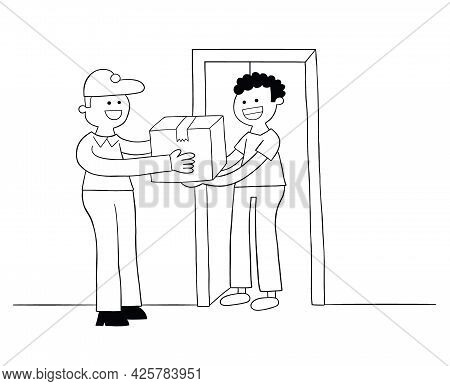 Cartoon Courier Brings The Parcel, The Customer Receives The Parcel, Vector Illustration. Black Outl