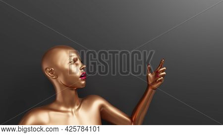 Shocked Female Mannequin Showing Up By Forefinger. Golden Woman Sculpture With Red Lips And Nails. C