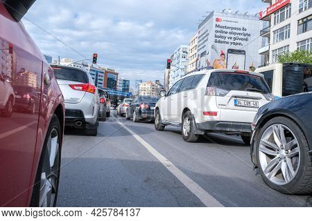 Mecidiyekoy, Istanbul, Turkey - 05.17.2021: Low Angle View Of A Traffic Jam During Rush Hours And A