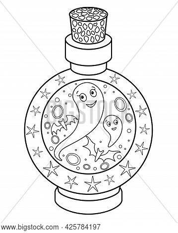 Ghosts Locked In A Bottle - Vector Linear Halloween Picture For Coloring. Outline. A Bottle With A M