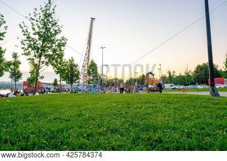 Beyoglu, Istanbul, Turkey - 06.27.2021: Playground And Slides For Children In Haskoy Public Park And