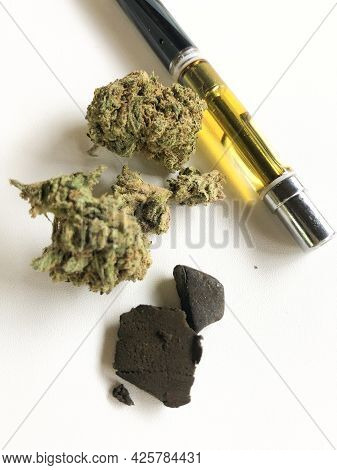 Different Forms Of Marijuana, Like Resin, Hash And Weed, Or Grass