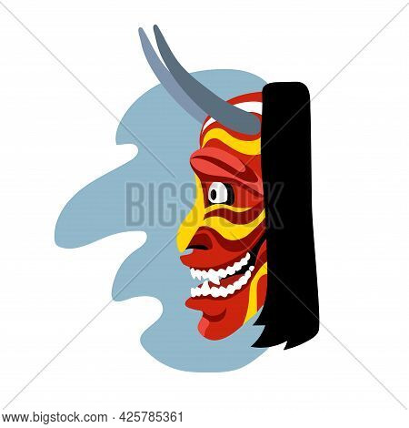 Hannya, Side View, Japanese Theatrical Mask Of An Angry Jealous Woman, Demon, Monster, Color Vector