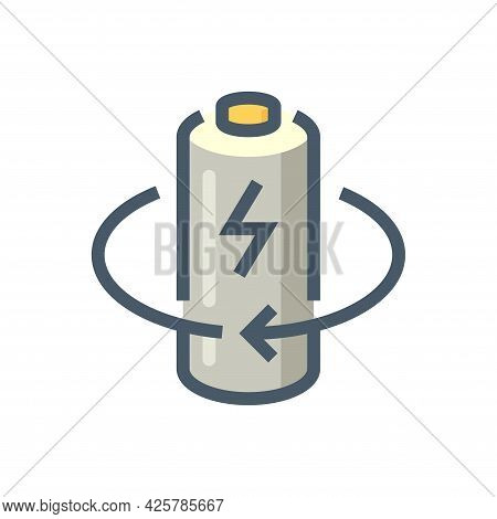 Battery Cell Charge Vector Icon Design. That Rechargeable Battery Or Lithium-ion. Component Part For