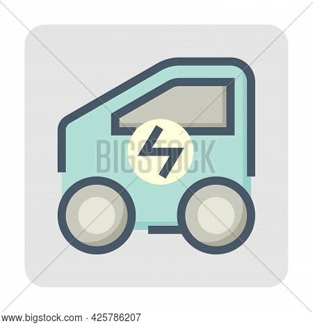 Electric Vehicle (ev) Vector Icon. Consist Of Compact Or Mini Car Side View And Electrical Sign. Tha