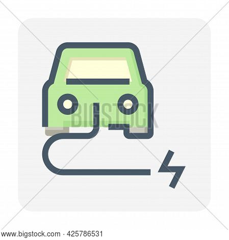 Electric Vehicle (ev) Vector Icon. Consist Of Car, Cable Or Wire And Electrical Sign. That For Charg