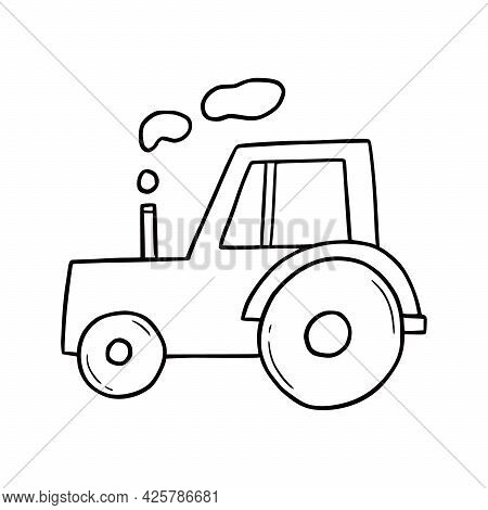 Hand Drawn Farm Tractor. Doodle Sketch Style. Drawing Line Simple Tractor Icon. Isolated Vector Illu