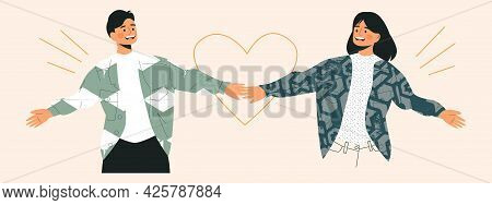 Couple In Love Having Fun Holding Hands And Enjoying Togetherness Concept. Young Happy Cheerful Youn