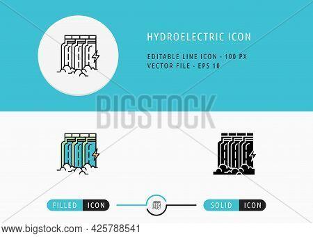 Hydroelectric Icons Set Editable Stroke Vector Illustration. Energy Power Resource Symbol. Icon Line