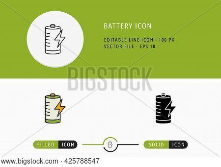 Battery Icons Set Editable Stroke Vector Illustration. Energy Power Resource Symbol. Icon Line Style