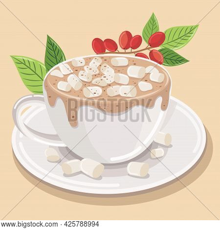 Hot Coffee Latte Cappuccino Spiral Foam With Marshmallows Sprinkled On Top And Chocolate Powder. On