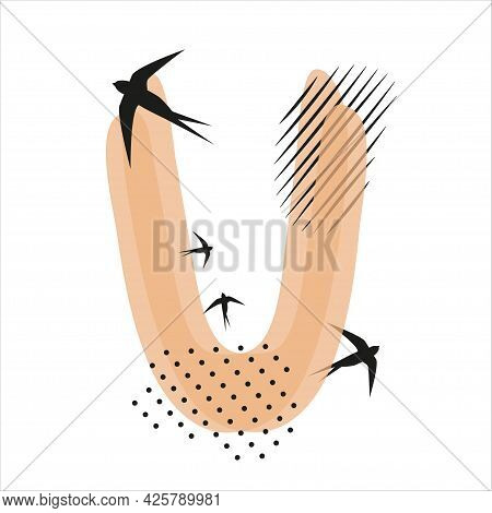 Minimalistic Pattern An Oriental Style In Form Of Letter U. Flock Of Swallows Flies. Abstract Object
