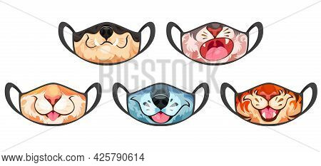 Face Masks With Funny Animal Isolated On White Background. Vector Cartoon Set Of Black Cloth Medical