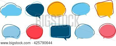 Vector Set Of Speech Bubbles. Multicolored Clouds For Text, Lettering. Different Shape Of Empty Ball