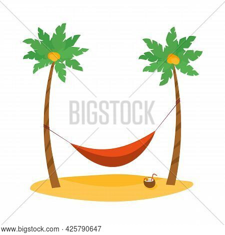 Red Cartoon Hammock With Palm Trees. Coconut Cocktail On Beach. Vector Illustration In Flat Style