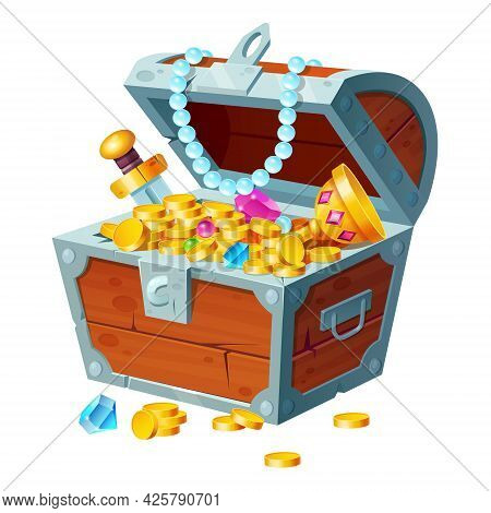 Chest With Gold Coins, Gemstones, Crystals And Trophy. Pirate Treasure In Open Wooden Forged Box Iso
