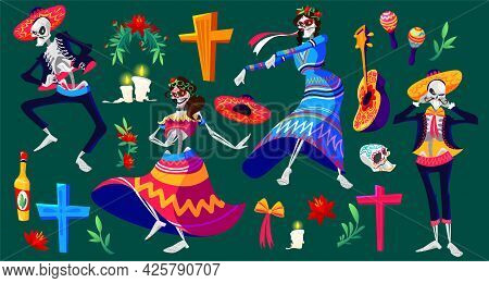 Mexican Day Of The Dead, Dia De Los Muertos Skeletons Characters And Holiday Items. Dancing Catrina