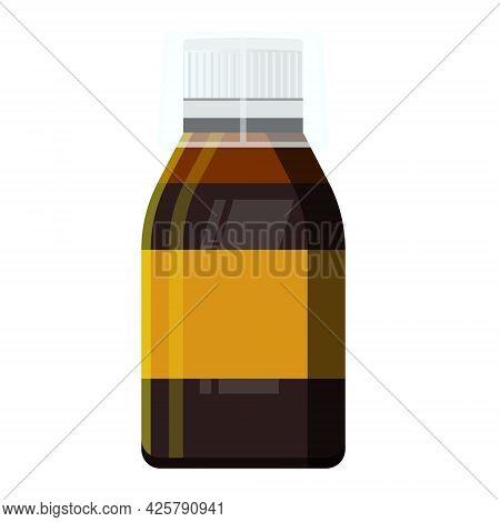 Throat Syrup, Throat Medicine, Disease Treatment Concept. Sore Throat Treatment. Medical Background.