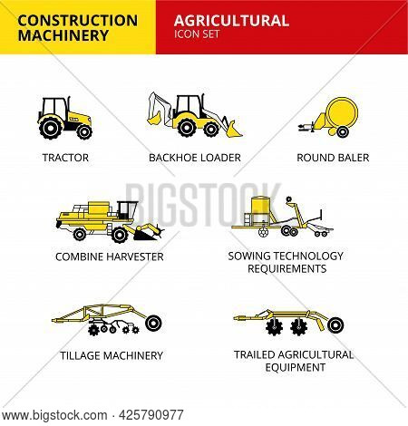 Agricultural Machinery Vehicle And Transport Car Construction Machinery Icons Set Vector