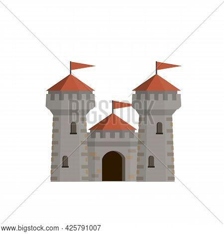 Medieval European Stone Castle. Knights Fortress. Concept Of Security, Protection And Defense. Carto