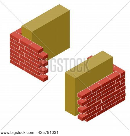 Red Brick Wall In Isometry With Layers Of Plaster And Insulation. Material For Home Repair. Construc