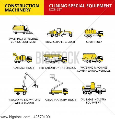 Clining Special Equipment Machinery Vehicle And Transport Car Construction Machinery Icons Set Vecto