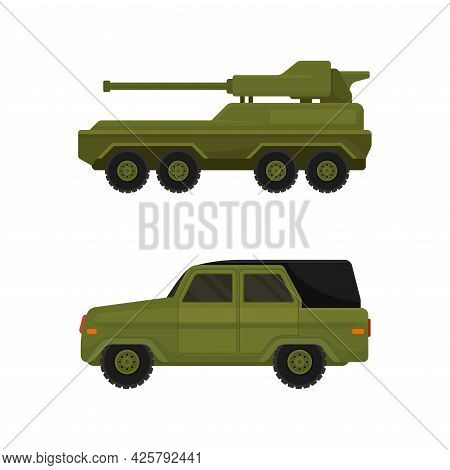 Military Car And Armed Machinery As Transportation Vehicle Used In Army Vector Set