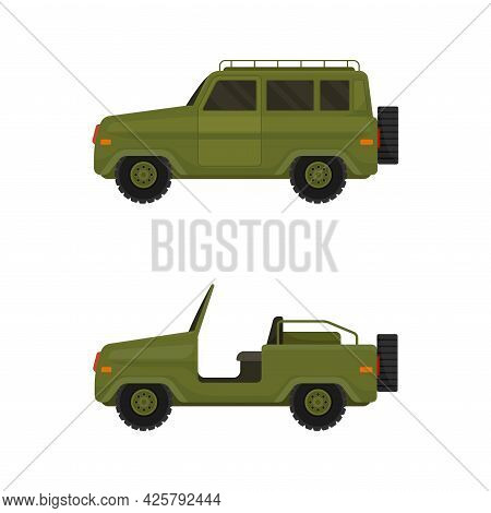 Military Car As Transportation Vehicle Used In Army For Carrying Armed Forces Vector Set