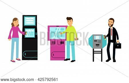 People Characters Using Electronic Self Service Terminals And Atm Machine Vector Illustration Set