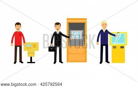 Man Character Using Electronic Self Service Terminals And Atm Machine Vector Illustration Set