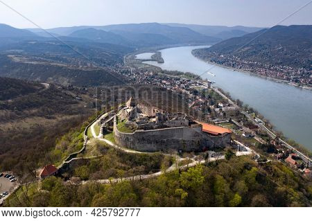Visegrad, Hungary - castle on the hill above the Danube river bend.