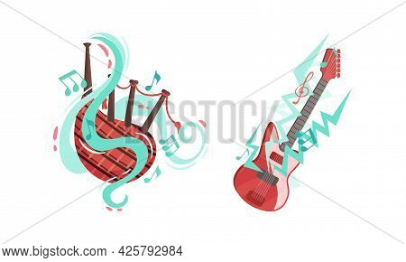 Musical Instruments With Electric Guitar And Bagpipe Twisted With Decorative Swirling Line And Note