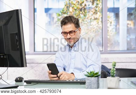 Businessman working in office with computer sitting at desk. Portrait of mature age, middle age, mid adult man in 40s.
