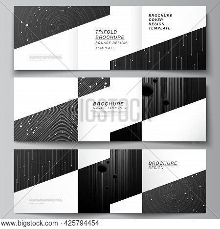 Vector Layout Of Square Format Covers Design Templates For Trifold Brochure, Flyer, Magazine, Cover