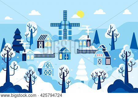 Winter Sunny Day Landscape, Snowy Village With Mill And Barns On Hill - Vector Cartoon Illustration