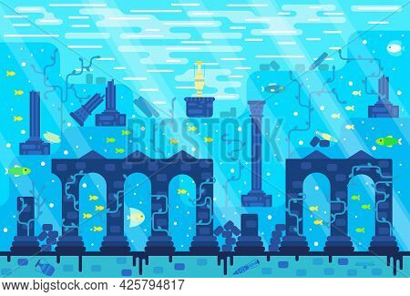 Destroyed Wall Of An Ancient City, Columns, Amphorae Buried Under Water - Vector Illustration In Fla