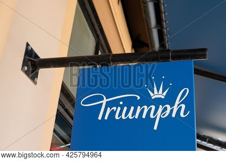 Montpellier , Ocitanie France  - 06 30 2021 : Triumph Lingerie Company Logo Brand And Text Sign On S