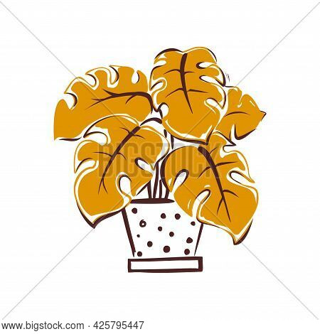 A Wilting Flower In A Pot. Hand-drawn Illustration On A White Background. Vector.