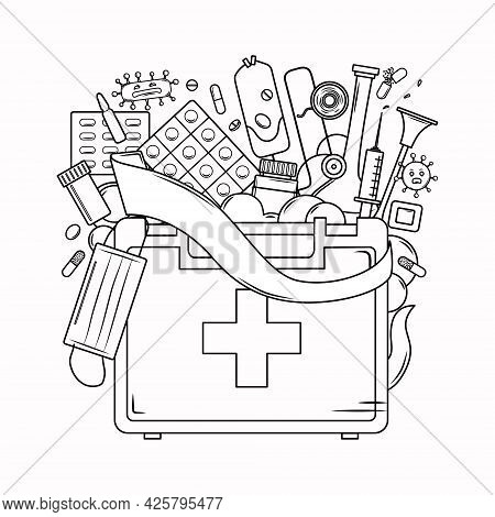 Medicine Coloring Book For Adults. First Aid Kit, Mask, Bandage, Syringe, Virus In The Outline Style