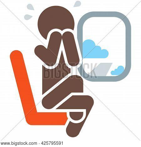 Man Afraid To Fly Icon Stress Panic Symbol Isolated Illustration
